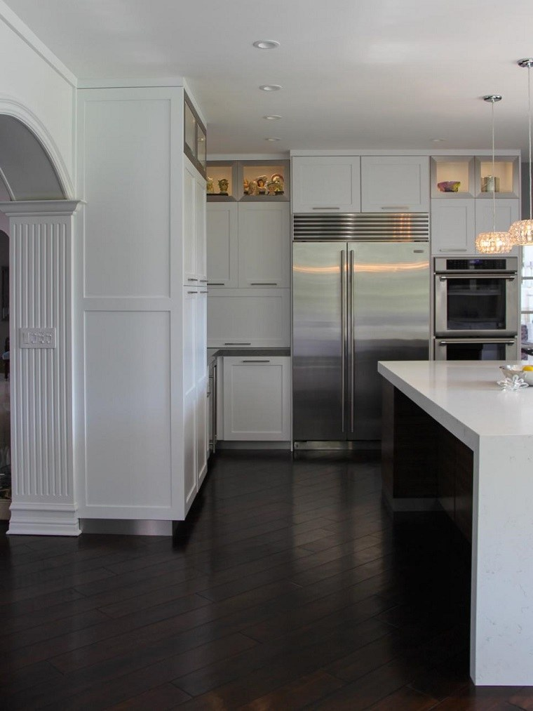 cocina blanca estilo minimalista frigorifico grande ideas