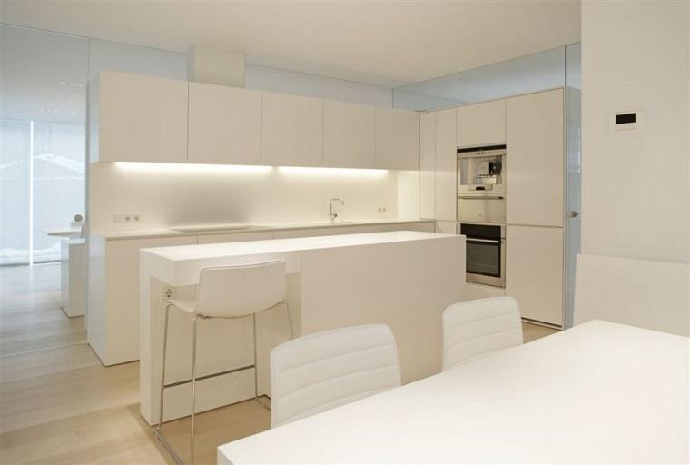 cocina blanca estilo minimalista iluminacion armarios ideas