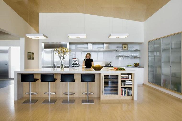 cocina blanca estilo minimalista isla madera encimera blanca ideas