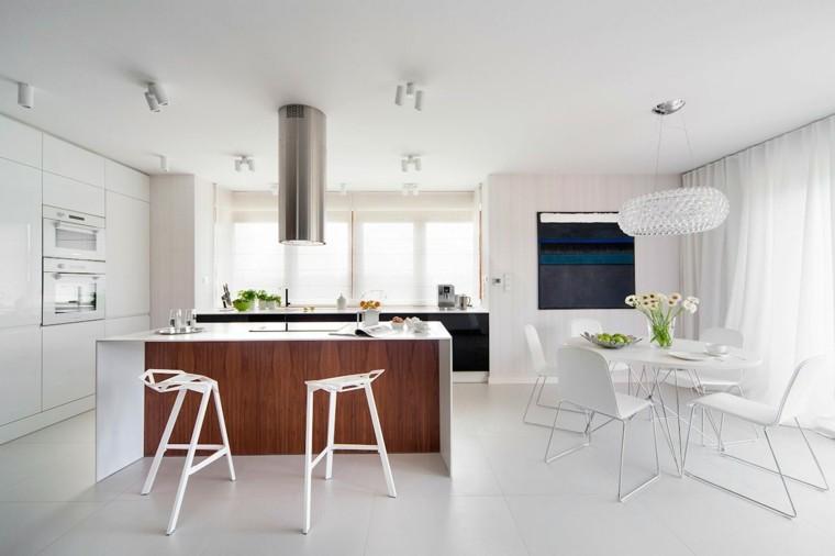 cocina blanca estilo minimalista isla madera marron ideas