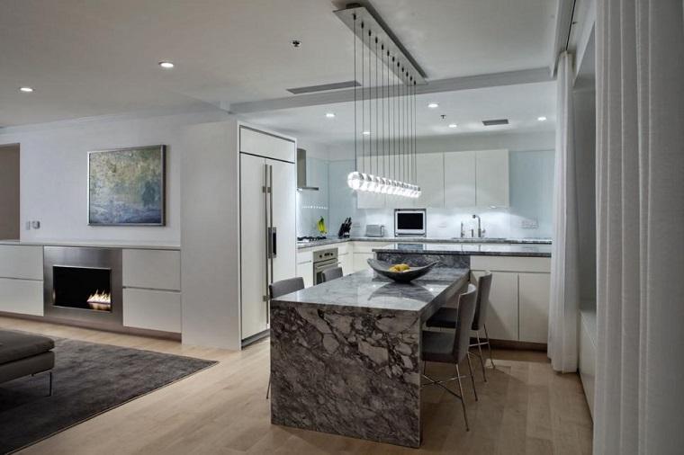 cocina blanca estilo minimalista isla marmol lujosa ideas
