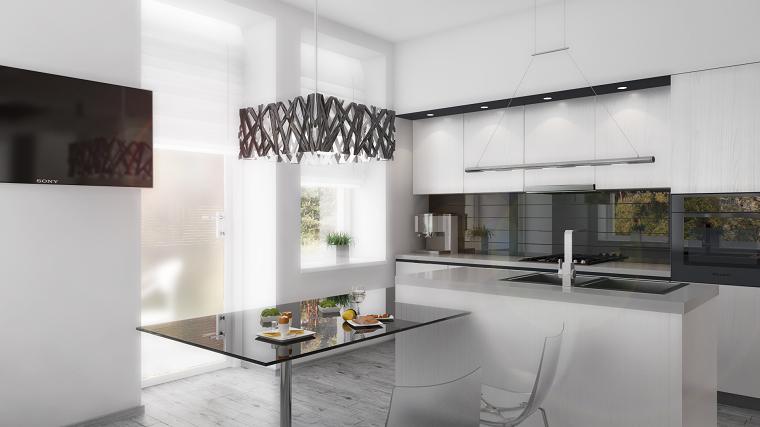 cocina blanca estilo minimalista lampara preciosa ideas
