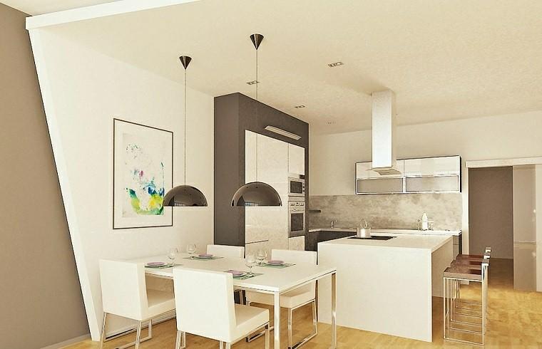 cocina blanca estilo minimalista lamparas negras ideas