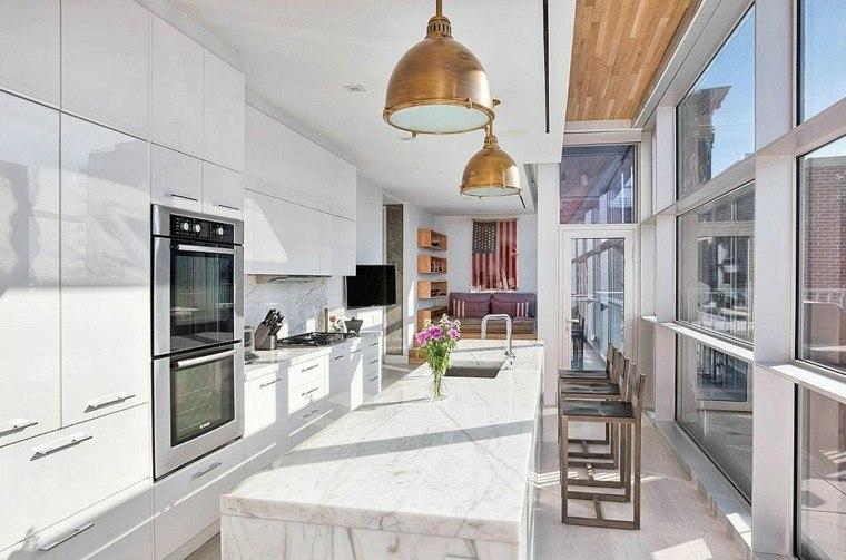 cocina blanca estilo minimalista marmol lujoso ideas