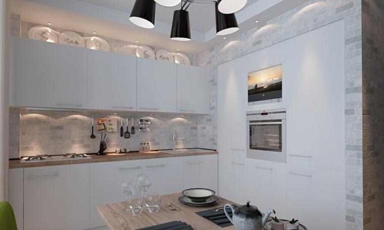 cocina blanca estilo minimalista mesa madera ideas