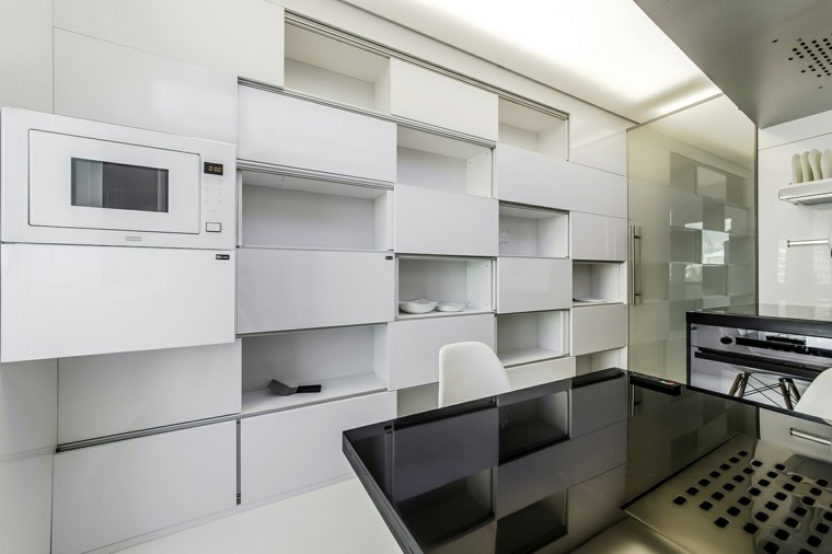cocina blanca estilo minimalista mesa negra ideas