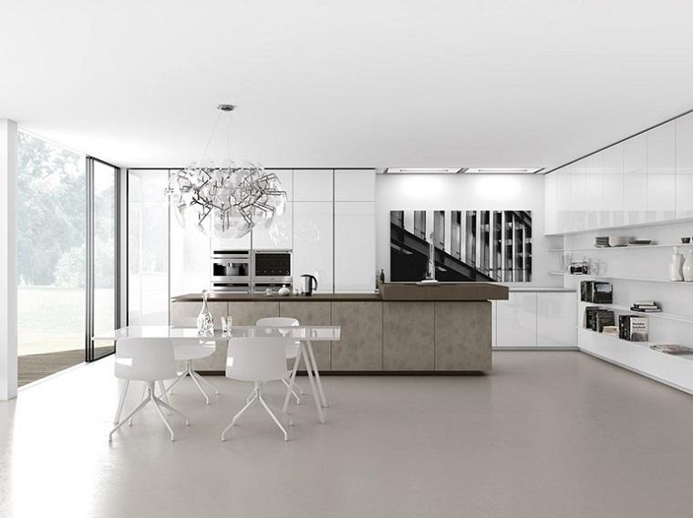 cocina blanca estilo minimalista mesa sillas comidas ideas