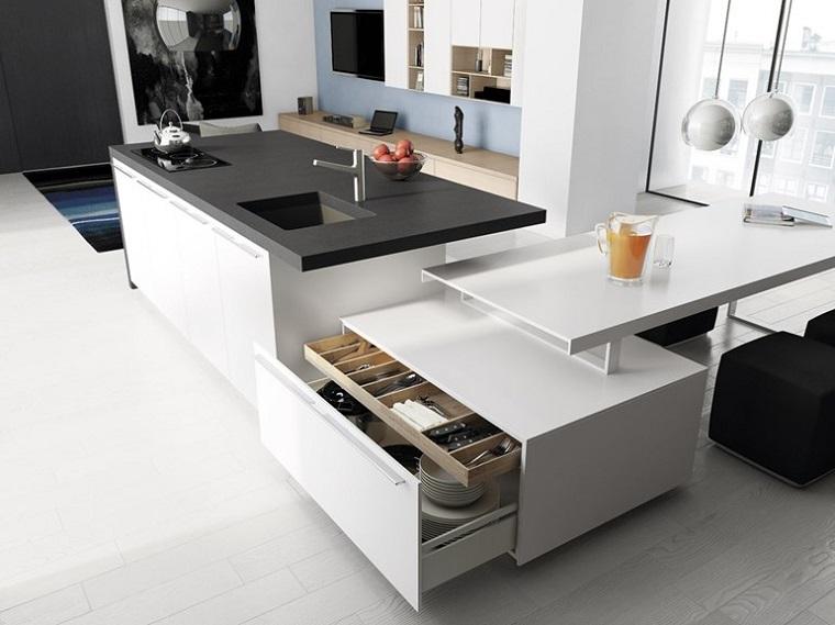 cocina blanca estilo minimalista pared azul encimeras negras ideas