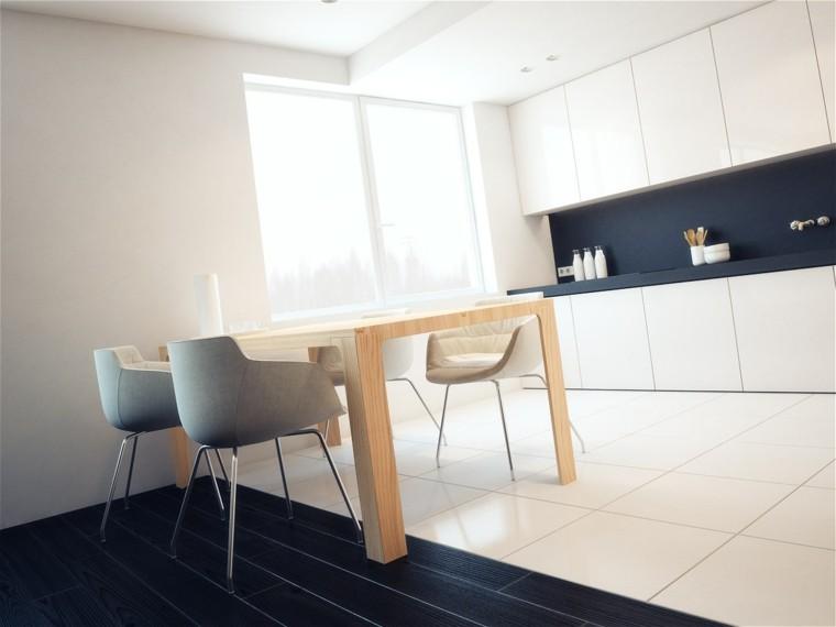 cocina blanca estilo minimalista pared azul ideas