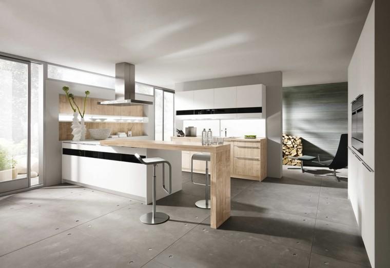 cocina blanca estilo minimalista pared barra madera ideas