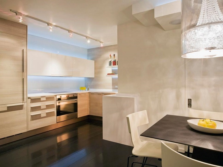 cocina blanca estilo minimalista pared hormigon ideas