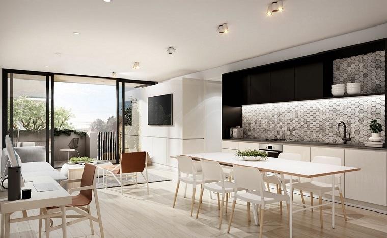 cocina blanca estilo minimalista pared interesante ideas