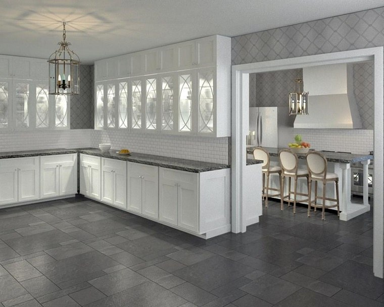 cocina blanca estilo minimalista pared ladrillo ideas
