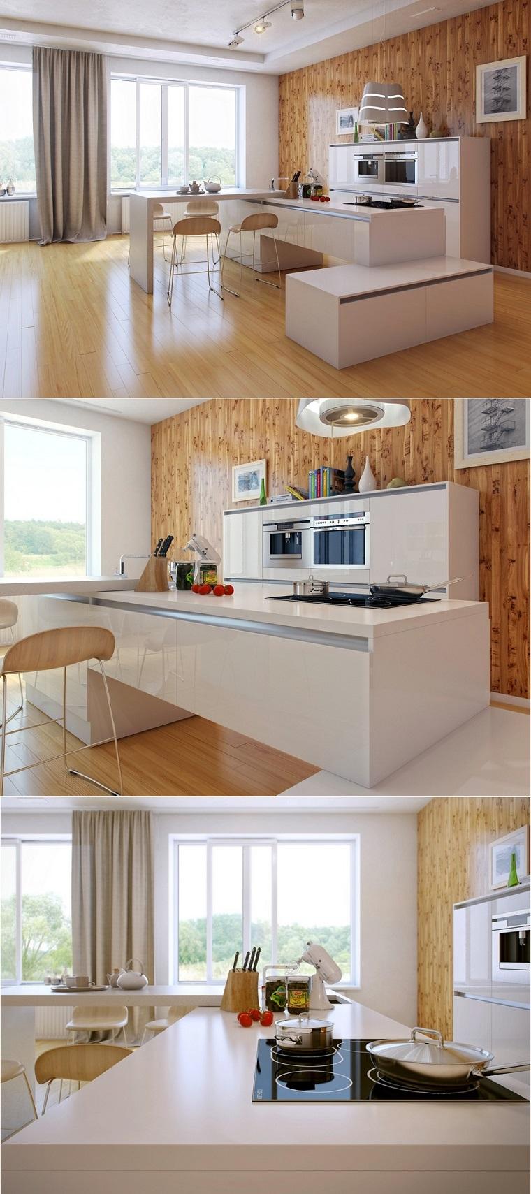 cocina blanca estilo minimalista pared madera isla ideas
