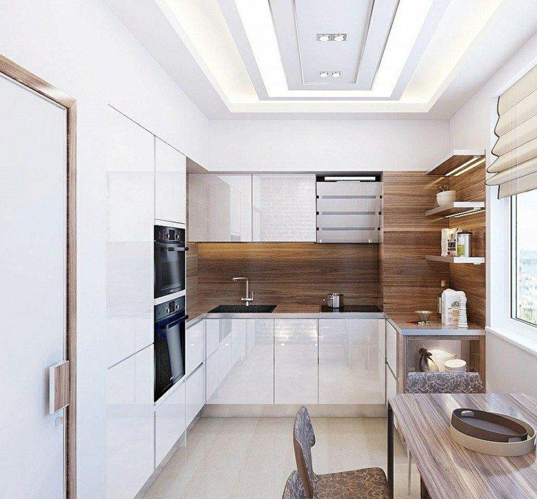 cocina blanca estilo minimalista pared madera ideas