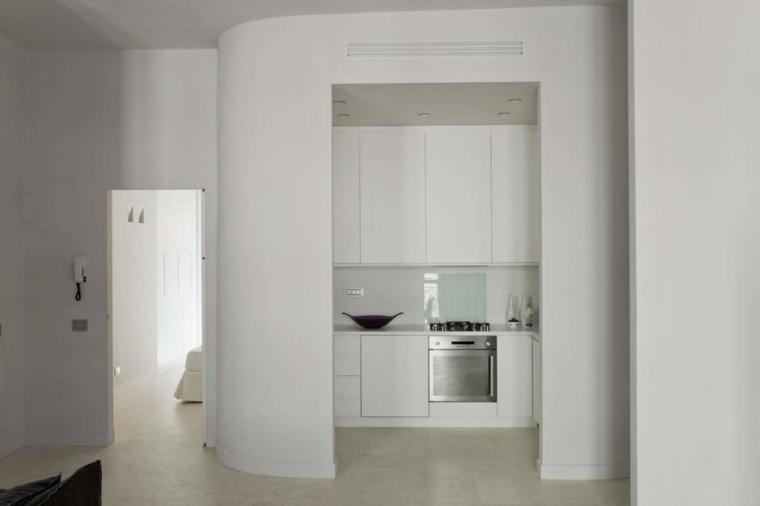 cocina blanca estilo minimalista pequena apartamento ideas