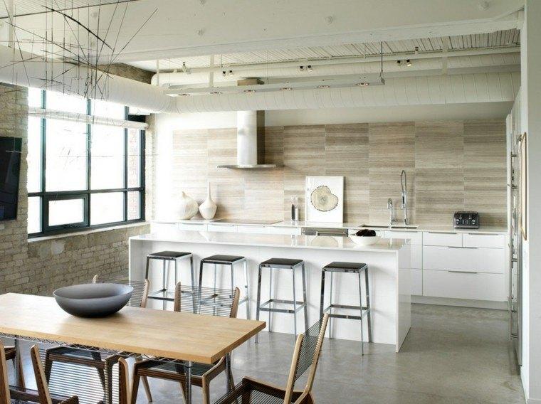 cocina blanca estilo minimalista sillas taburetes altos ideas
