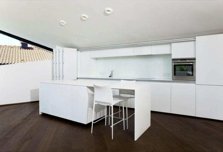 cocina blanca estilo minimalista suelo madera marron ideas