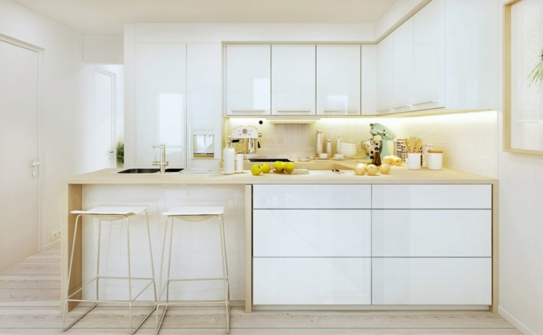 cocina blanca luces led amarillas