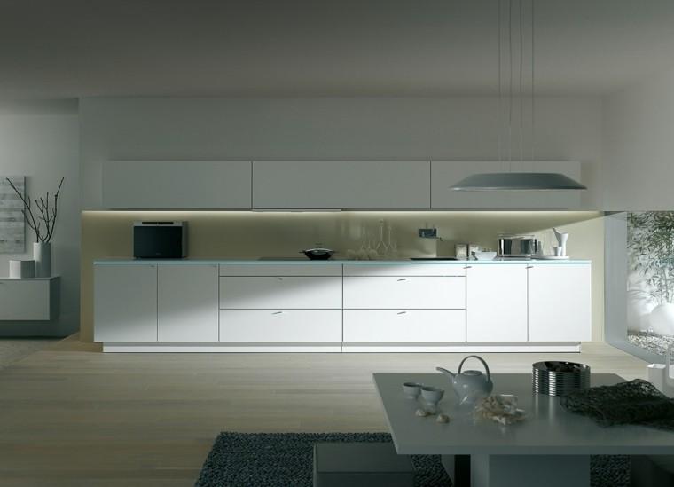 cocina blanca luces led sombras