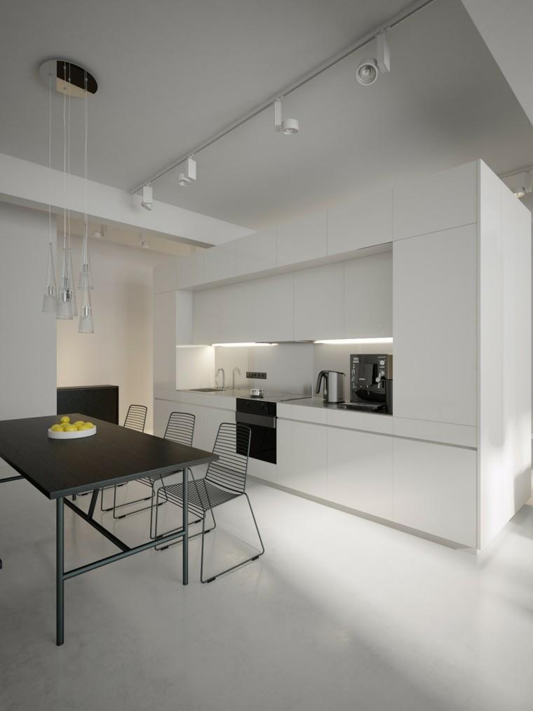 cocina blanca mesa comedor negra