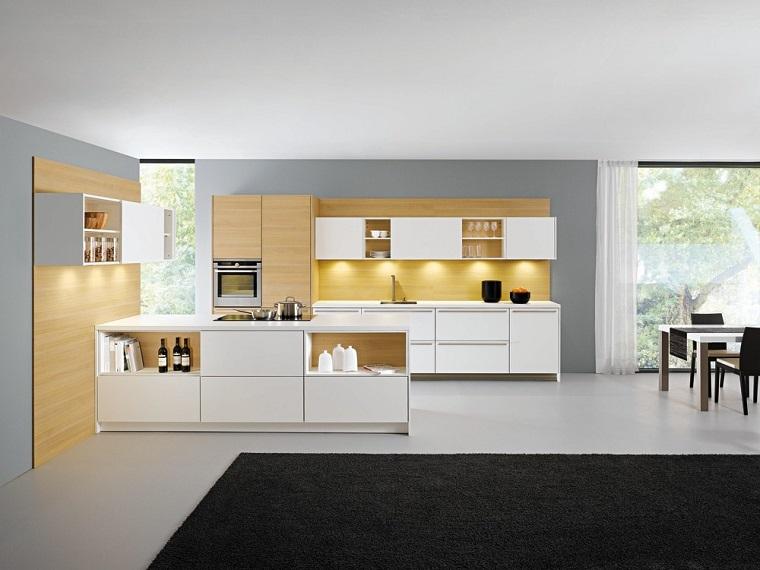 cocina blanca moderna isla pared madera ideas