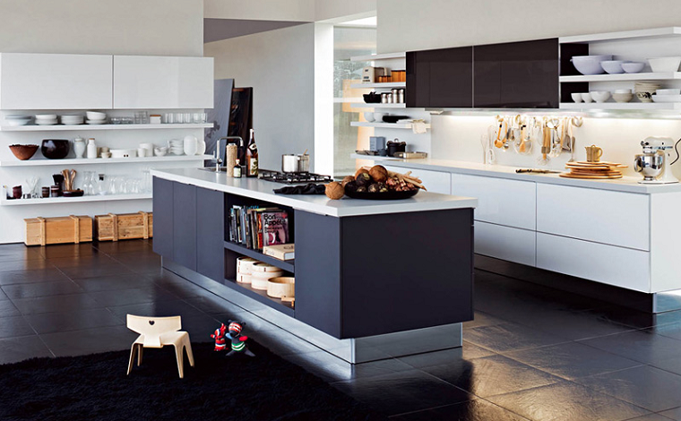 Cocinas modernas con isla 100 ideas impresionantes for Color credence cocina blanca