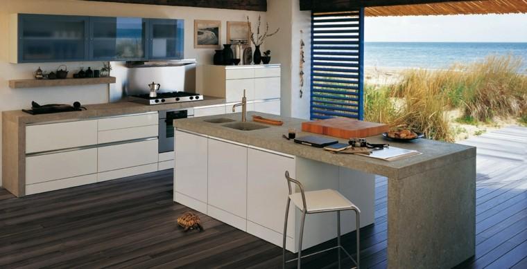 Cocinas modernas con isla 100 ideas impresionantes - Granito colores encimera ...