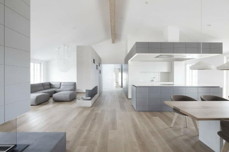 Decoración de interiores modernos en gris y blanco -