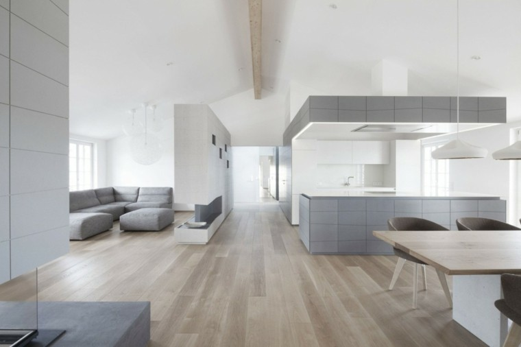 cocina comedor abiertos amplio sofas grises apartamento ideas
