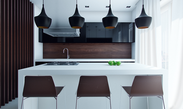 cocina compacta isla blanca taburetes altos ideas