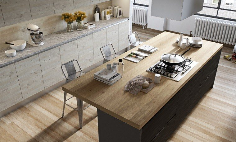 cocina diseno isla madera sillas acero ideas