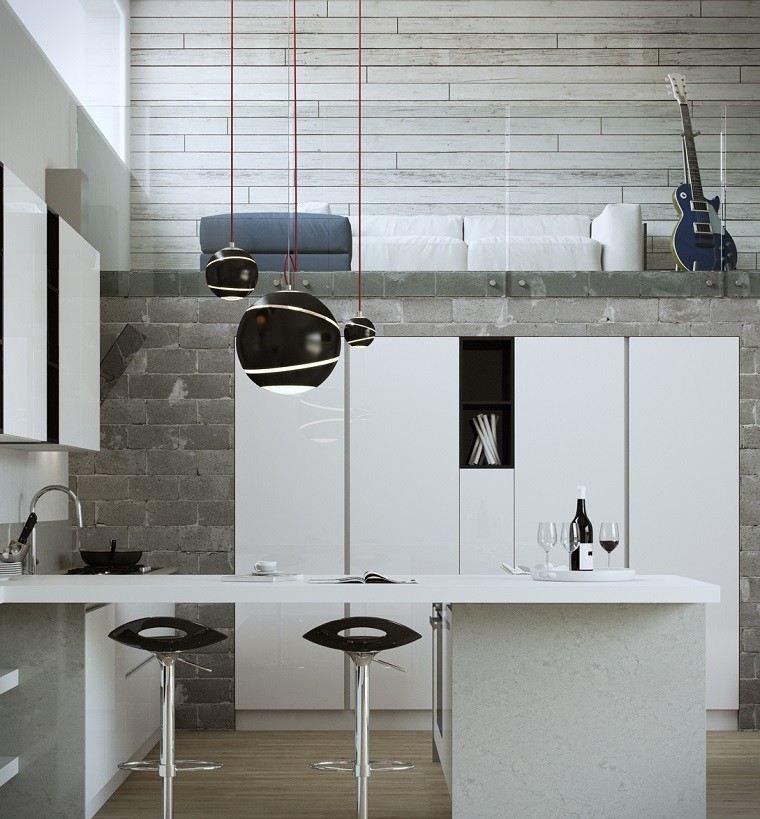 cocina diseno ladrillo gris pared armario blanco ideas