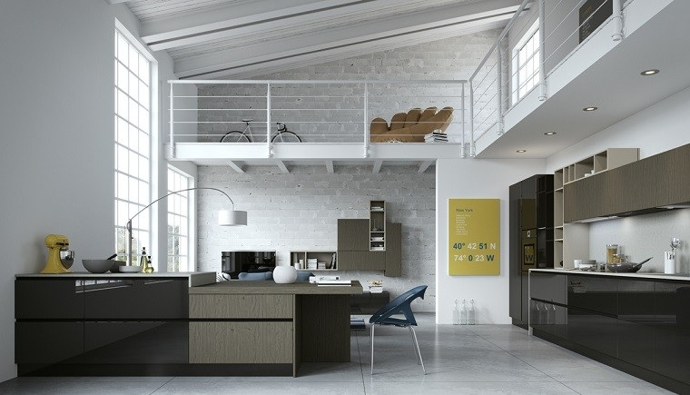 cocina diseno loft muebles colores oscuro ideas