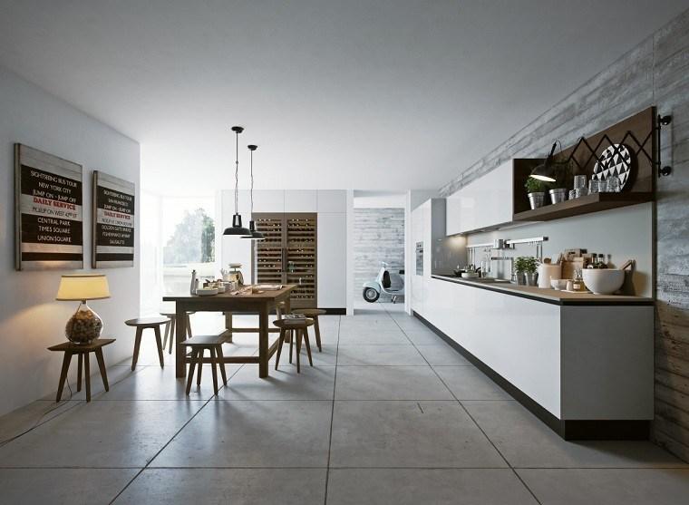 cocina diseno mesa taburetes madera lampara moderna ideas