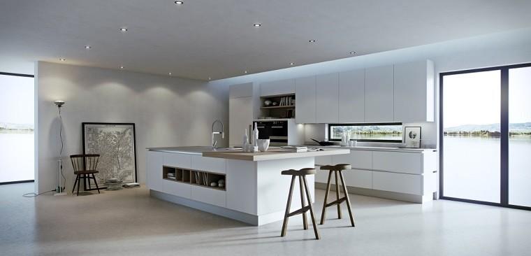 cocina diseno minimalista taburetes madera ideas