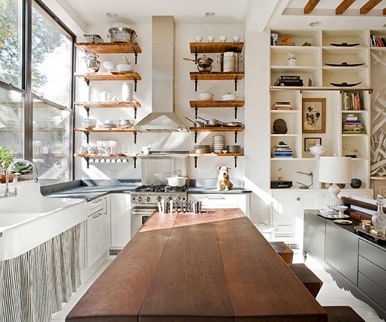 cocina estanterias isla estilo clasico ideas