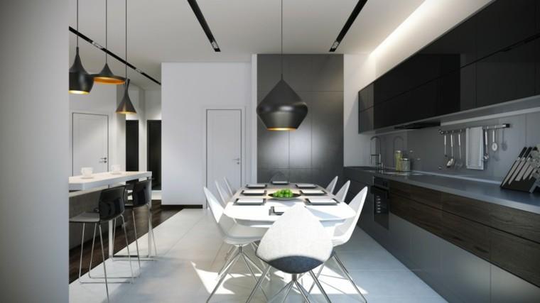 cocina estilo contemporaneo blanca gris ideas