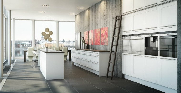 cocina estilo contemporaneo pared hormigon isla ideas