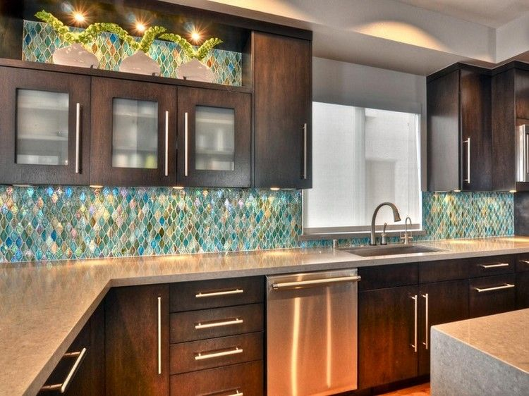 cocina estilo contemporaneo pared mosaico colores ideas