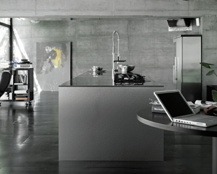 cocina estilo industrial colores oscuros gris isla ideas
