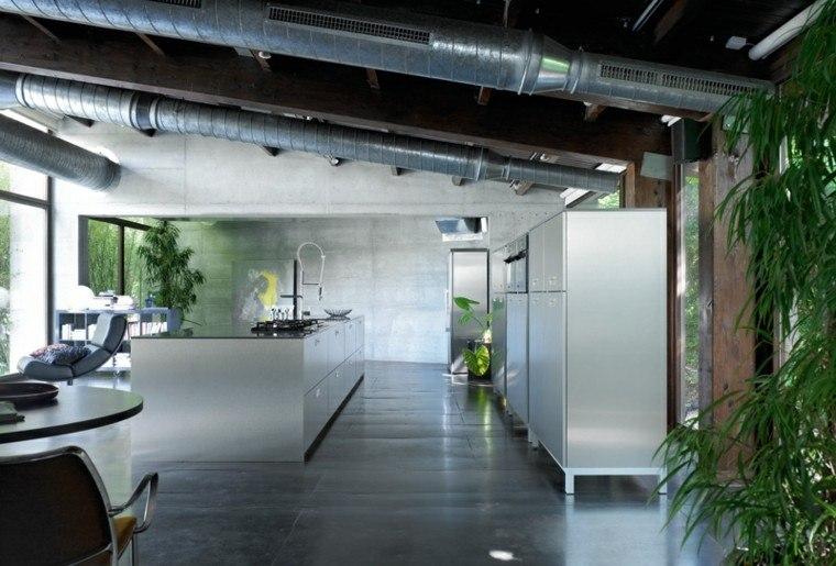 cocina estilo industrial plantas colores oscuros ideas
