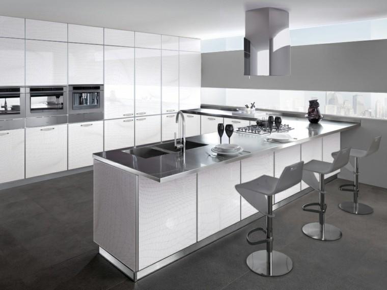 cocina estilo minimalista blanca isla taburetes ideas