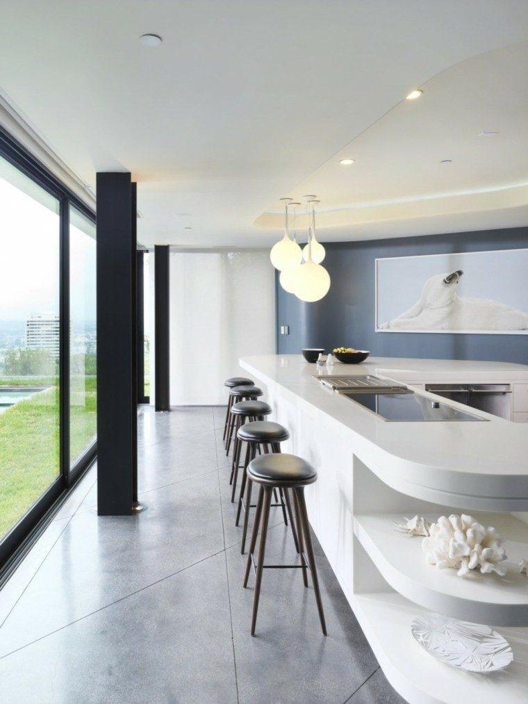 cocina estilo minimalista blanco taburetes cuero negro ideas