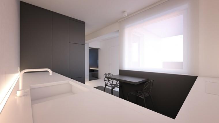 cocina estilo minimalista lavabo blanco mesa sillas grises ideas
