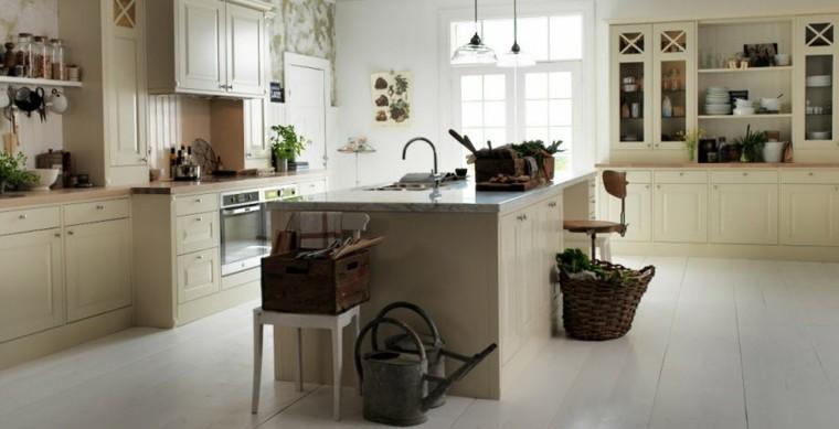 cocina estilo rural casa campo muebles madera blanca ideas