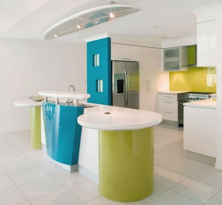 cocina estilo futurista verde azul
