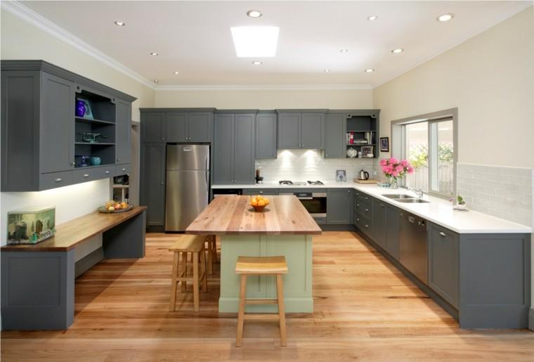cocina color gris isla verde