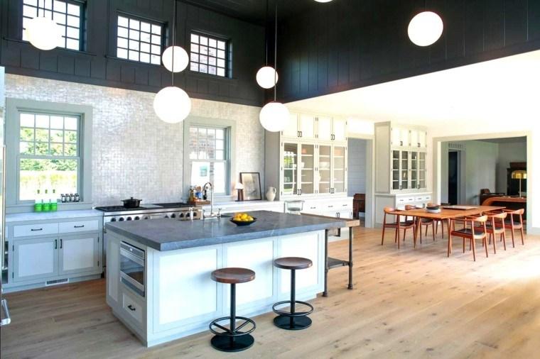 cocina estilo industrial techo negro