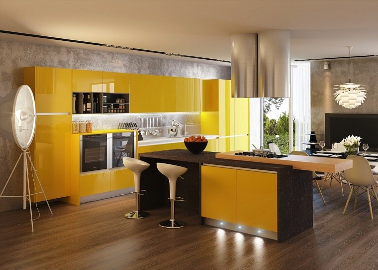 cocina isla amarilla suelo madera comedor chimenea ideas
